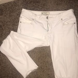 Free People Cropped White Jeans